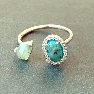 Tai Adjustable Silver Labradorite & Stone Ring NEW